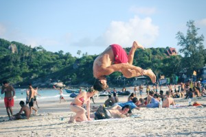 Front flip on the beach